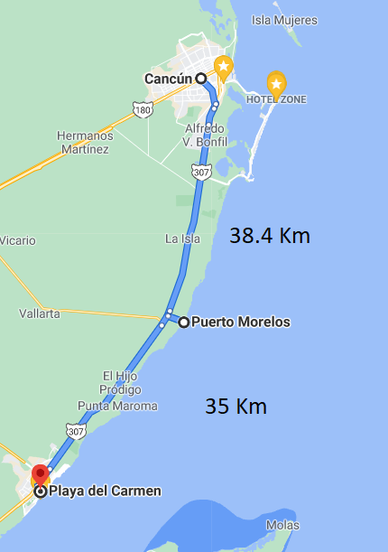 Distance from Puerto Morelos